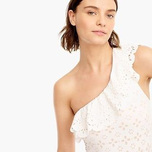 JCrew ruffle eyelet one-shoulder swimsuit size12